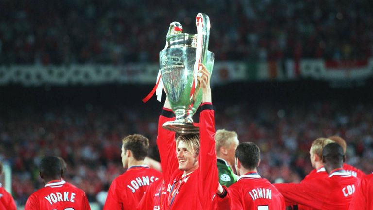 Beckham won the Champions League with Manchester United