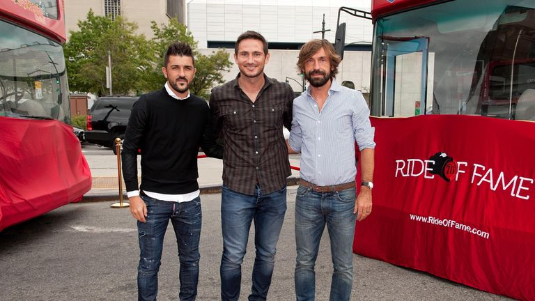 Frank Lampard (centre) is New York City FC's best-paid player, ahead of Andrea Pirlo (right) and David Villa (left)