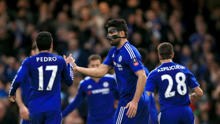 Diego Costa celebrates Chelsea's opener at Stamford Bridge