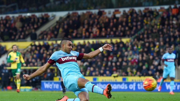 Dimitri Payet of West Ham United scores his team's first goal