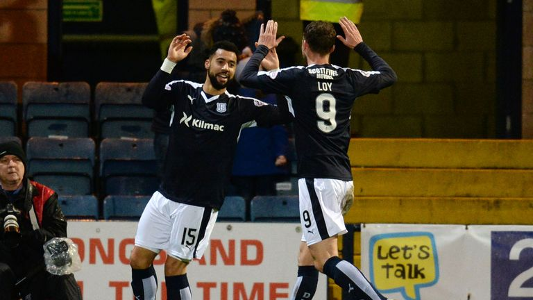 Kane Hemmings and Rory Loy celebrate Dundee's opening goal on Friday