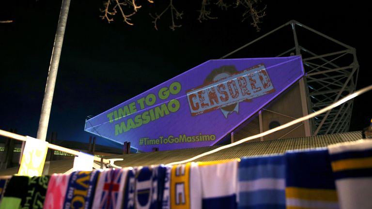Anti-Cellino images were projected onto Elland Road ahead of the game