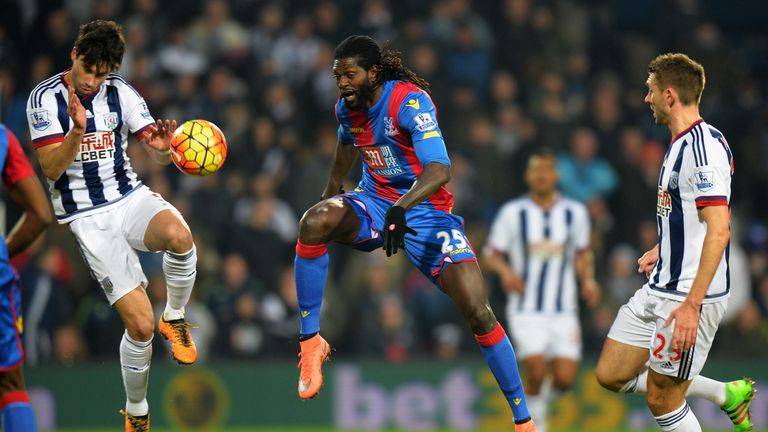 Emmanuel Adebayor was brought off at half-time for Yannick Bolasie