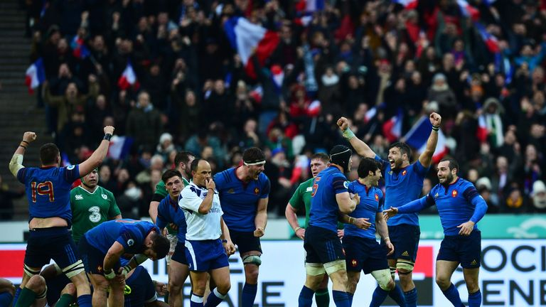 France players celebrate at the final whistle