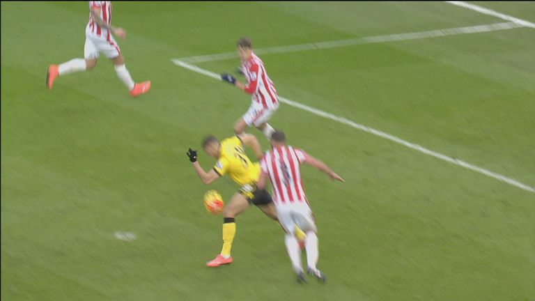 Did Rudy Gestede control the ball with his hand?