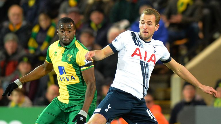 Kane tussles with Sebastien Bassong at Carrow Road