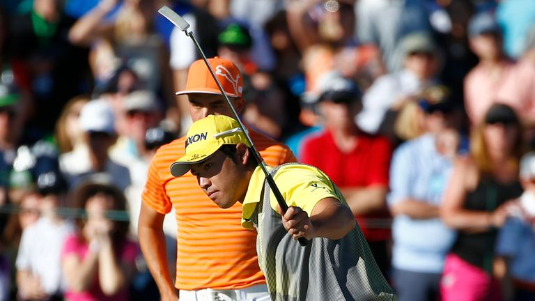 Hideki Matsuyama holed an 18 foot putt on the 18th hole to force a play-off with Rickie Fowler