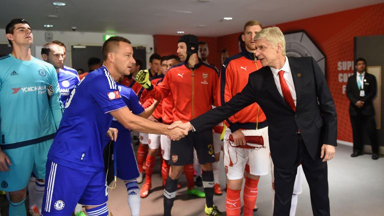John Terry shakes hands with Arsene Wenger at August's Community Shield clash at Wembley