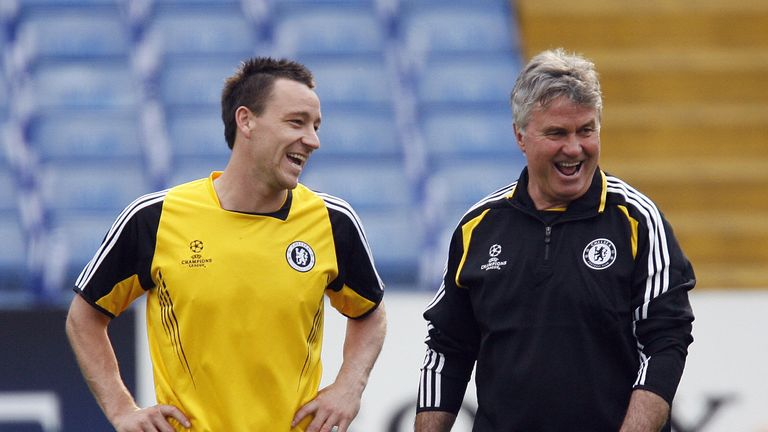 John Terry jokes with Chelsea manager Guus Hiddink
