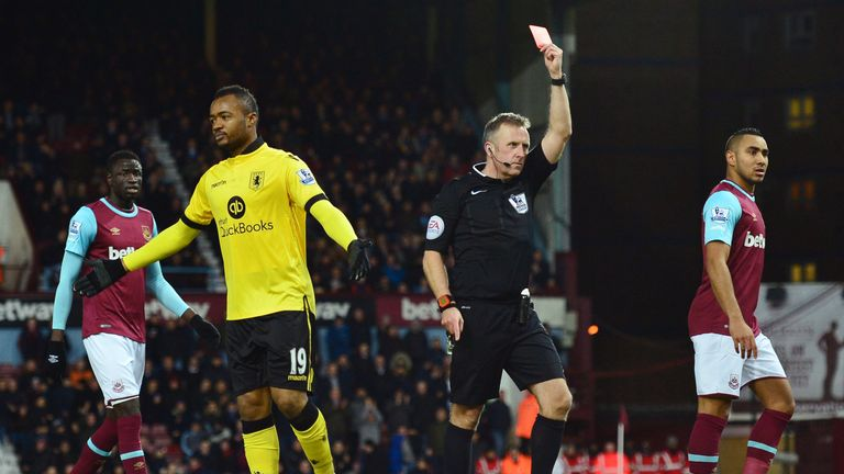 Jordan Ayew saw red in the first half for Aston Villa