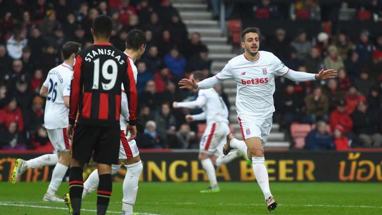 Joselu of Stoke City celebrates scoring his team's third goal at Bournemouth