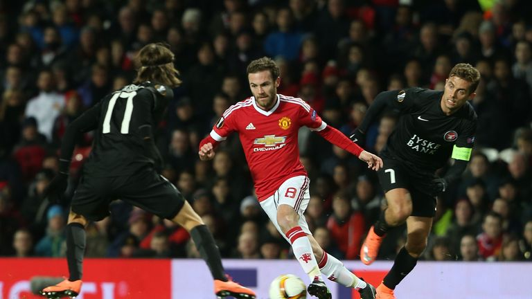 Juan Mata was in impressive form as United overcame Midtjylland