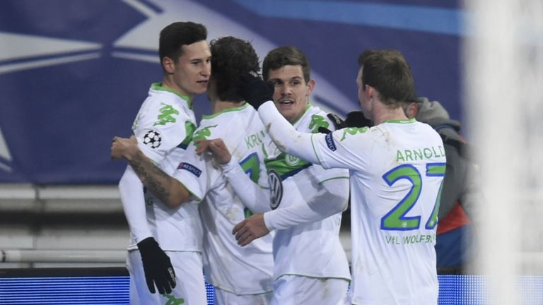 Wolfsburg's midfielder Julian Draxler scored twice against Gent