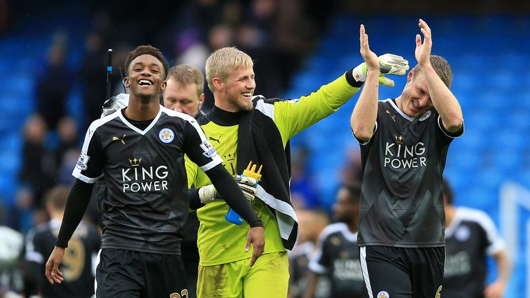 Robert Huth (right) applauds fans after victory at Manchester City