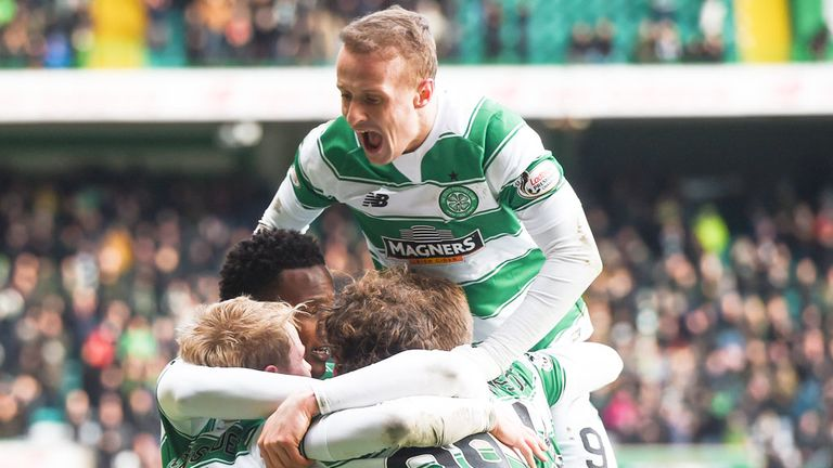 Leigh Griffiths joins the celebrations as Celtic take the lead against Inverness CT