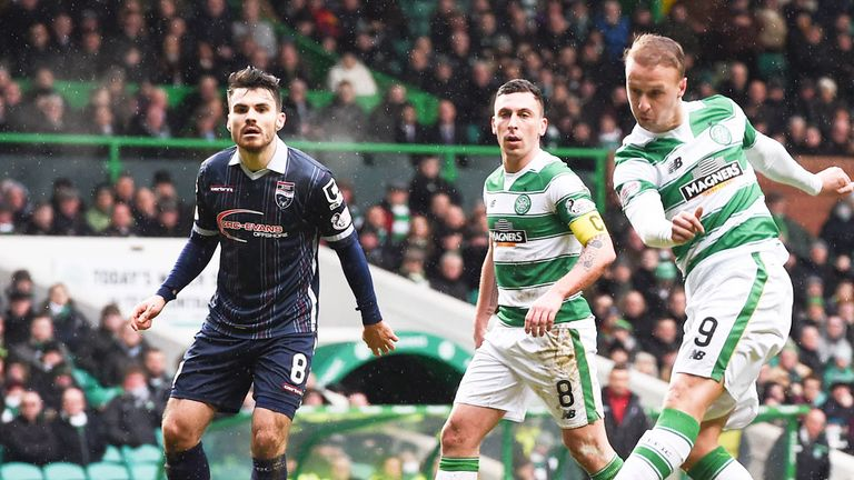 Celtic striker Leigh Griffiths shoots his side into the lead against Ross County