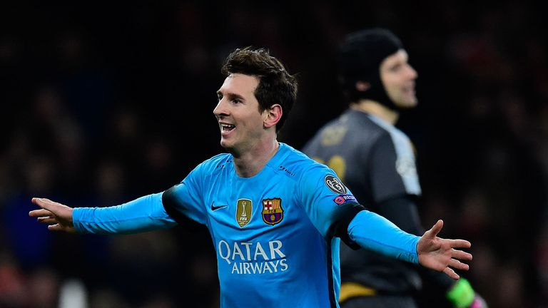 Lionel Messi of Barcelona celebrates scoring the opening goal