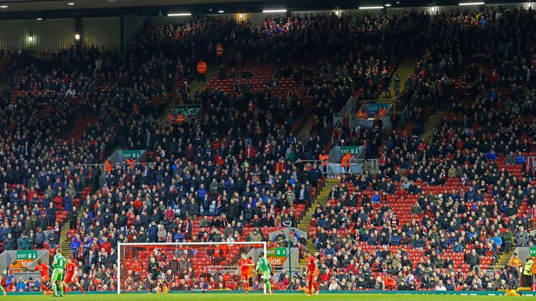 Liverpool supporters staged a walkout at Anfield
