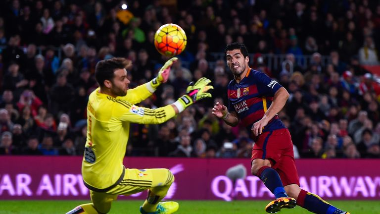 Luis Suarez scored three in the second half as Barcelona ran riot