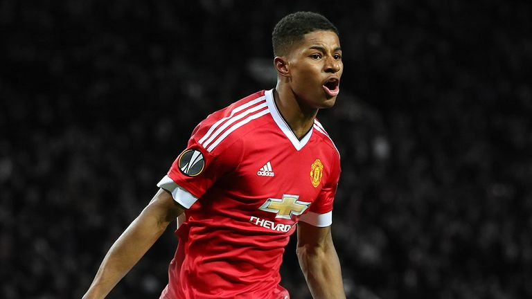 Marcus Rashford scored two goals on his Manchester United debut against FC Midtjylland