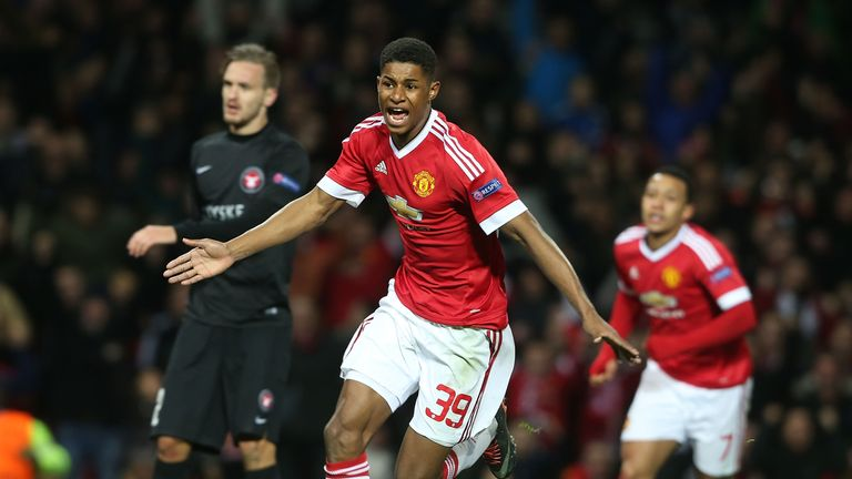 Marcus Rashford celebrates scoring for Manchester United