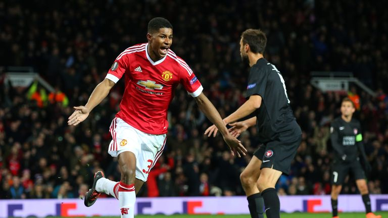 Marcus Rashford's two goals earned Manchester United a place in the Europa League last 16