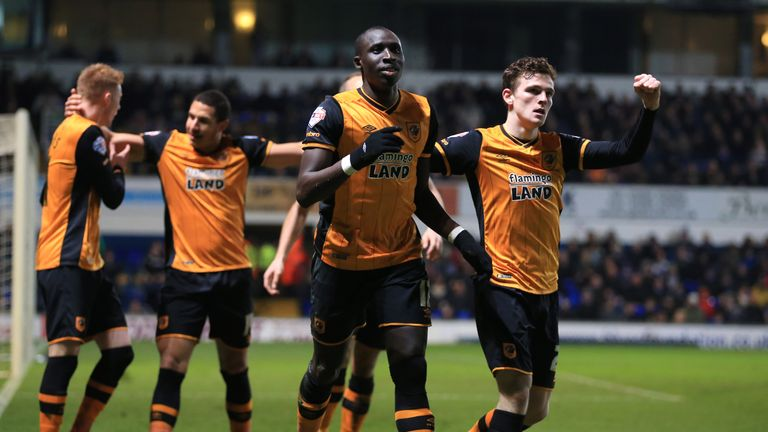 Diame celebrates with Andrew Robertson as Hull take the lead at Portman Road