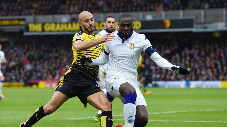 Watford's Nordin Amrabat and Leeds' Sol Bamba do battle at Vicarage Road