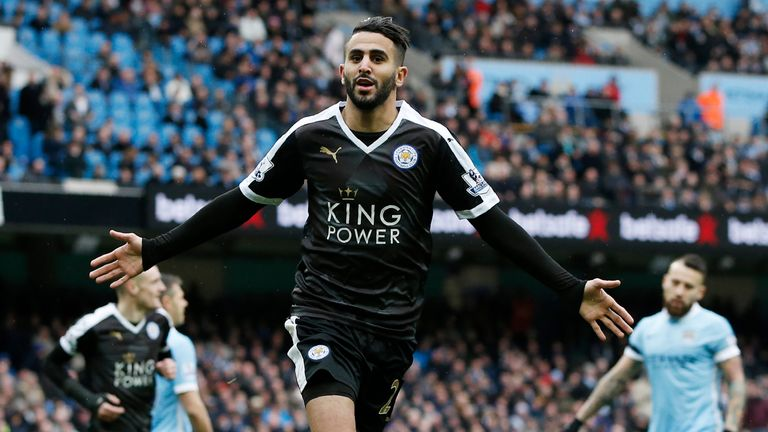 Riyad Mahrez celebrates Leicester's second goal at the Etihad