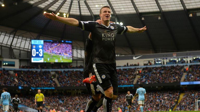 Huth celebrates his second goal at the Etihad