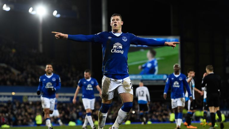 Ross Barkley celebrates after scoring his team's third goal