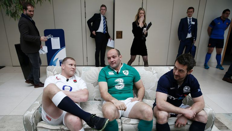 Dylan Hartley, Rory Best and Greg Laidlaw take a break from their media commitments during last week's Six Nations launch