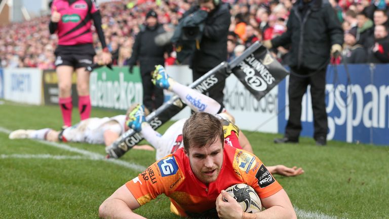 Scarlets full-back Michael Collins scores his second try against Ulster