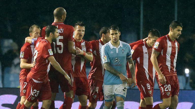 Sevilla celebrate reaching the Copa del Rey final