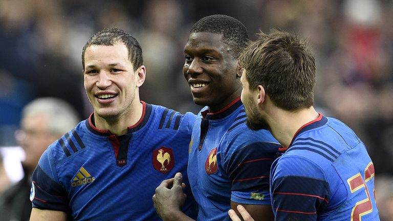 Wenceslas Lauret, Yacouba Camara and Hugo Bonneval celebrate victory over Ireland
