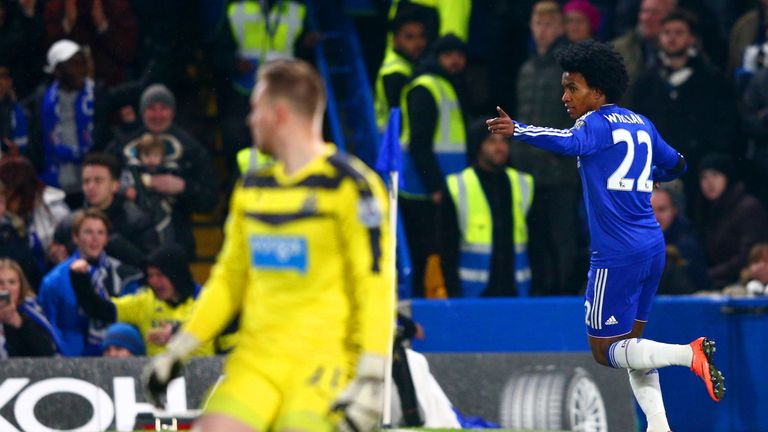 Willian celebrates scoring Chelsea's third goal against Newcastle