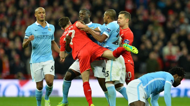 Adam Lallana and Yaya Toure had a confrontation at Wembley