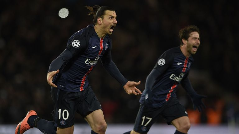 Zlatan Ibrahimovic (L) opened the scoring in the first-leg tie at the Parc des Princes