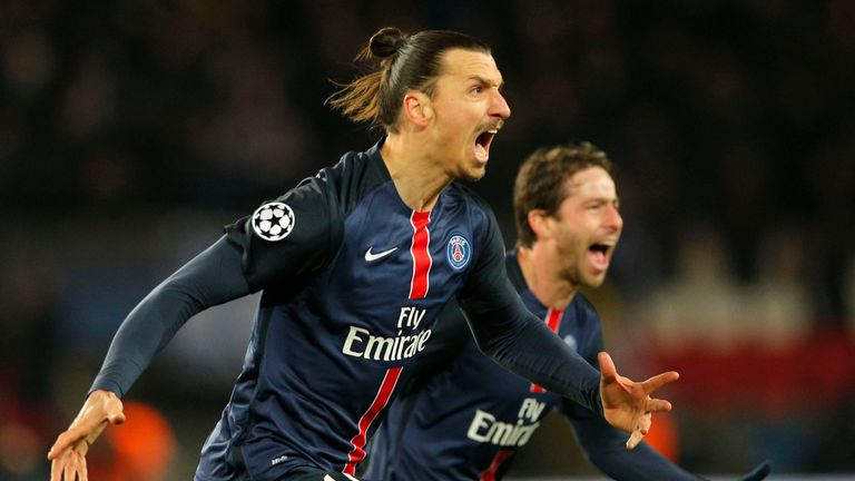 Ibrahimovic celebrates his goal with Maxwell