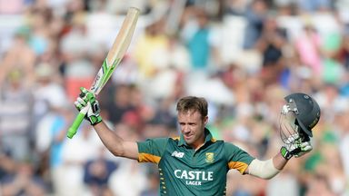 AB de Villiers celebrates reaching his 24th ODI century
