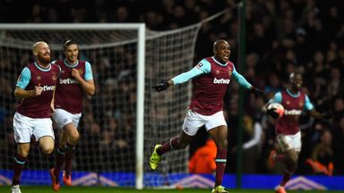 Angelo Ogbonna celebrates after scoring the winner in West Ham's FA Cup fourth round replay with Liverpool