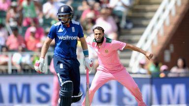 Imran Tahir of South Africa celebrates dismissing Alex Hales of England