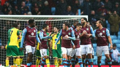 Joleon Lescott celebrates scoring for Aston Villa against Norwich
