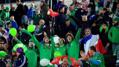 Northern Ireland supporters at a European Qualifier in Finland