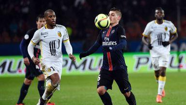 PSG's Marco Verratti controls the ball against Lille