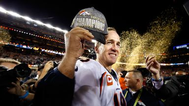 Peyton Manning celebrates his second Super Bowl win