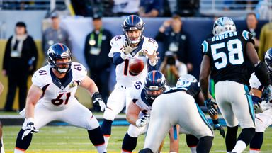 Peyton Manning #18 of the Denver Broncos throws a pass against the Carolina Panthers in the first quarter during Super Bowl