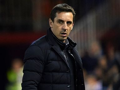 Gary Neville looks on as Valencia draw 1-1 against Barcelona