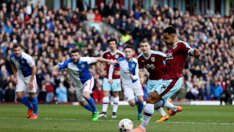Burnley's Andre Gray scores his side's first goal of the game from the penalty spot