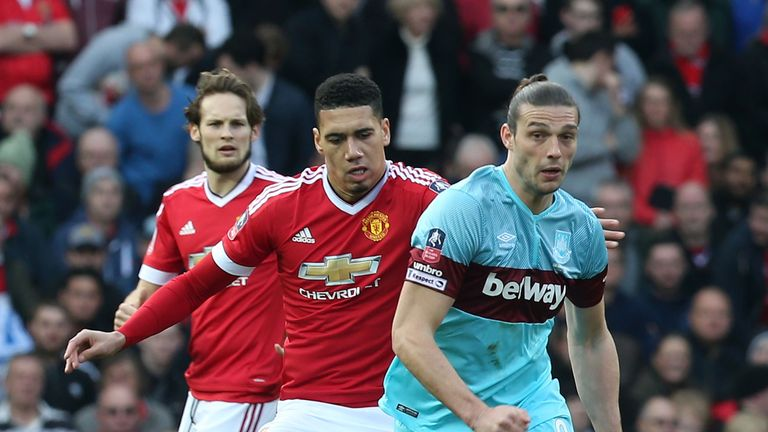Andy Carroll was a handful all afternoon on his return to the West Ham line-up